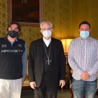 Visita dels promotors de la figura del Bisbe i Copríncep Simeó de Guinda